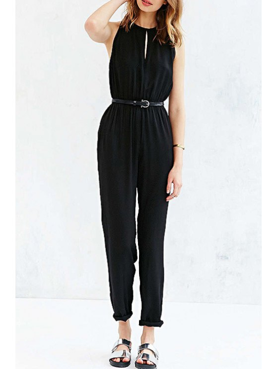 lady Jewel Neck Black Backless Jumpsuit - BLACK XS