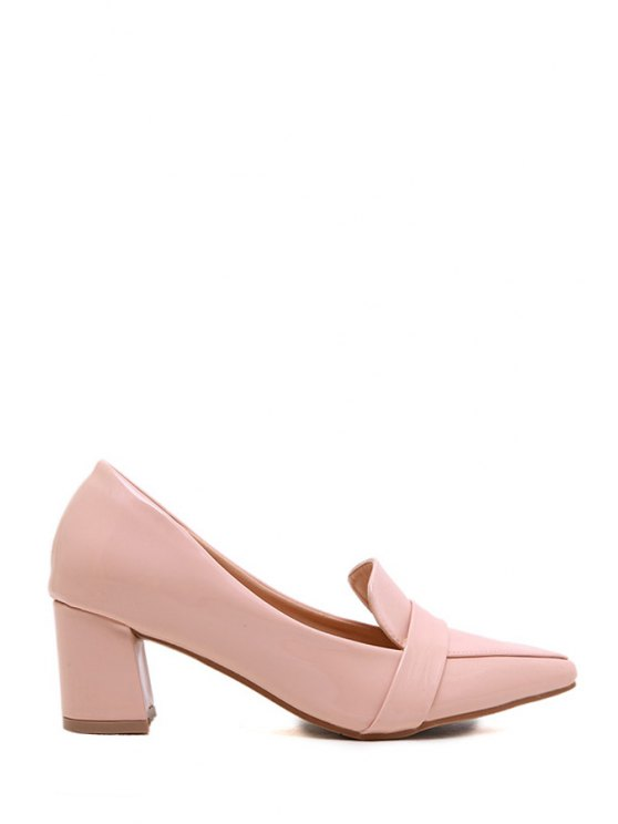shop Chunky Heel Solid Color Pointed Toe Pumps - PINK 38