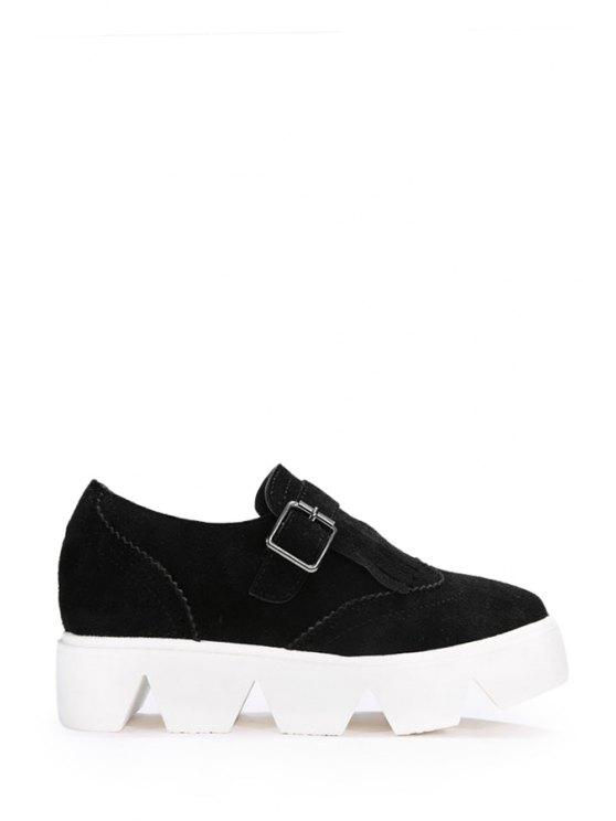 trendy Fringe Buckle Solid Color Platform Shoes - BLACK 35