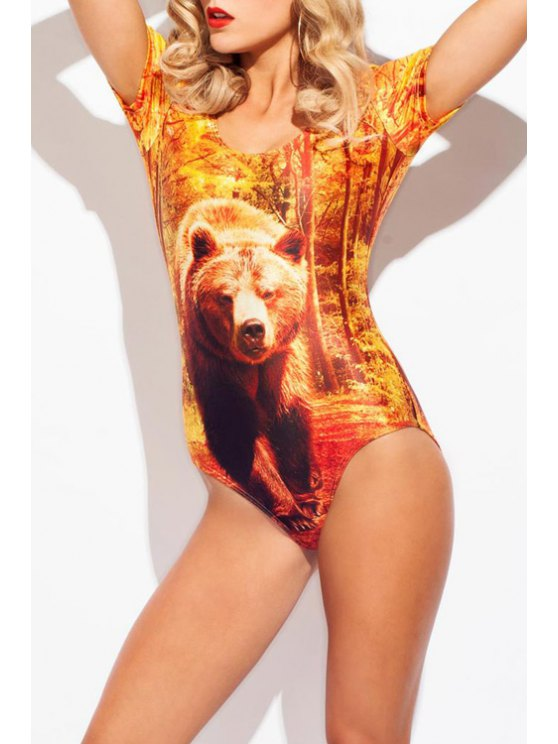 shop Bear Print Short Sleeve One-Piece Swimwear - AS THE PICTURE S