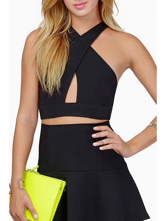 fancy V Neck Cross Hollow Out Sleeveless Crop Top - BLACK XS