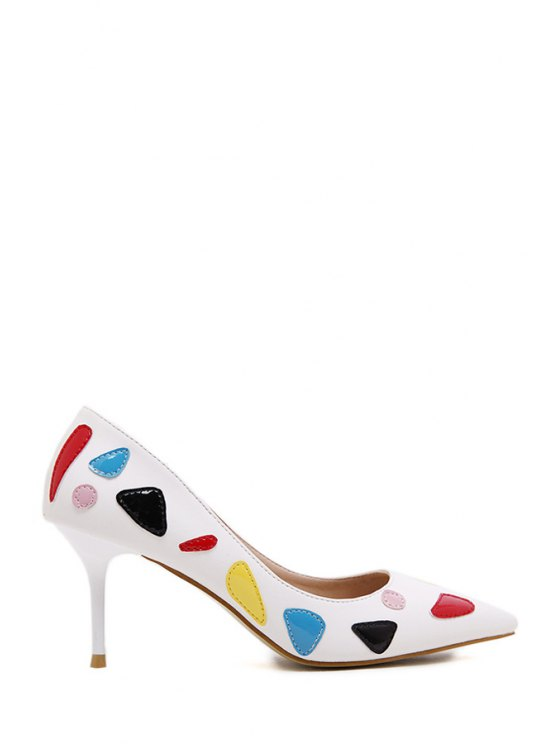 buy Pointed Toe Color Block PU Leather Pumps - WHITE 35