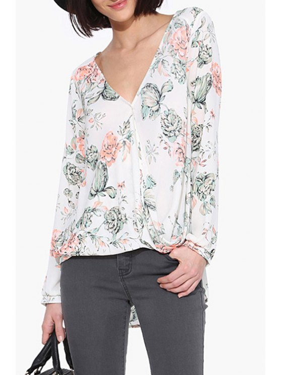 shop V Neck Floral Print Long Sleeve Shirt - WHITE XS