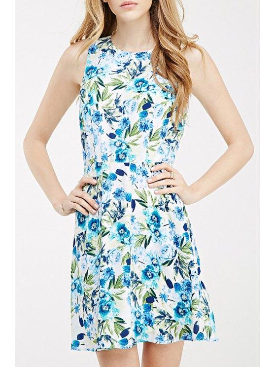 shop Backless Blue Floral Print Dress - BLUE XS
