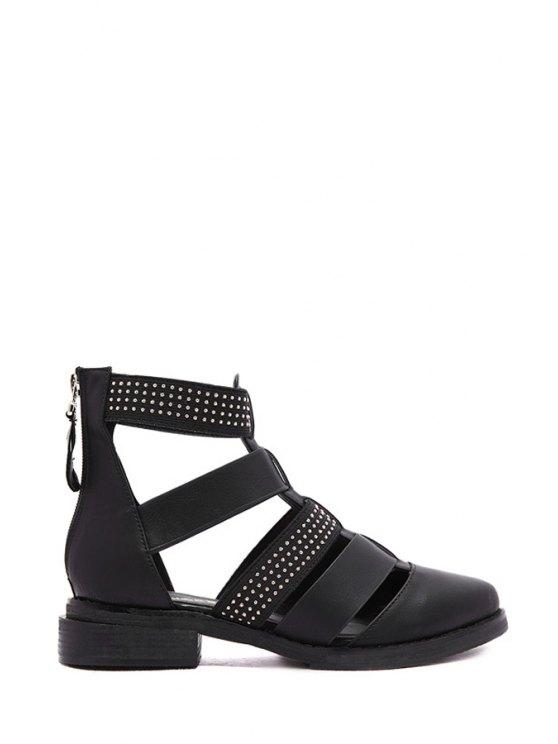 fashion Zipper Rivets Solid Color Flat Shoes - BLACK 35