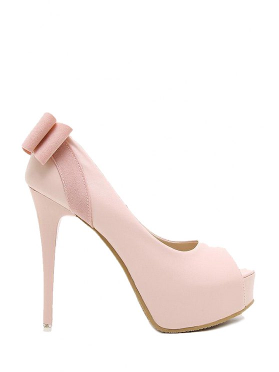 women's Bowknot Platform Solid Color Peep Toe Shoes - PINK 39