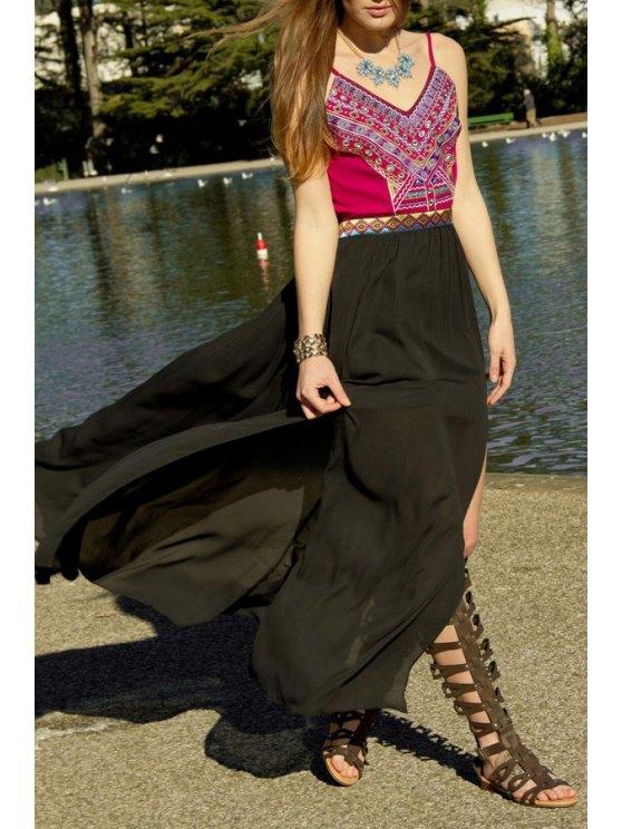 buy Spaghetti Strap Tribal Print Backless Maxi Dress - BLACK S