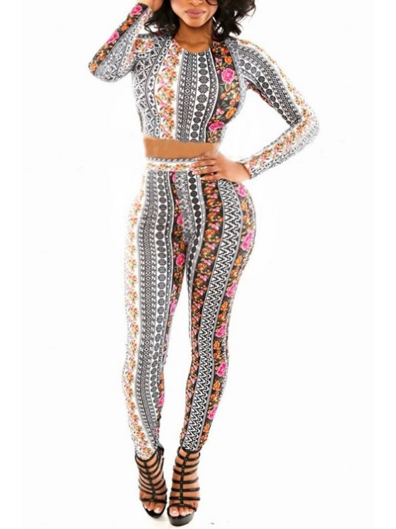 hot Floral Long Sleeve Crop Top and Skinny Pants Suit - AS THE PICTURE L