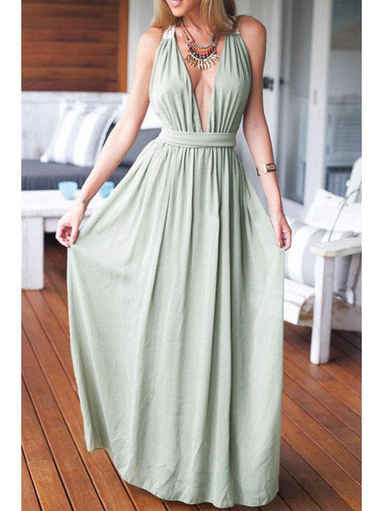 hot Plunging Neck Lace Splicing Backless Dress - LIGHT GREEN ONE SIZE(FIT SIZE XS TO M)