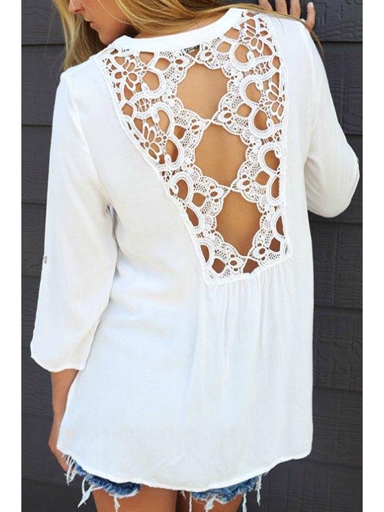 trendy Lace Spliced White V Neck 3/4 Sleeve Blouse - WHITE S