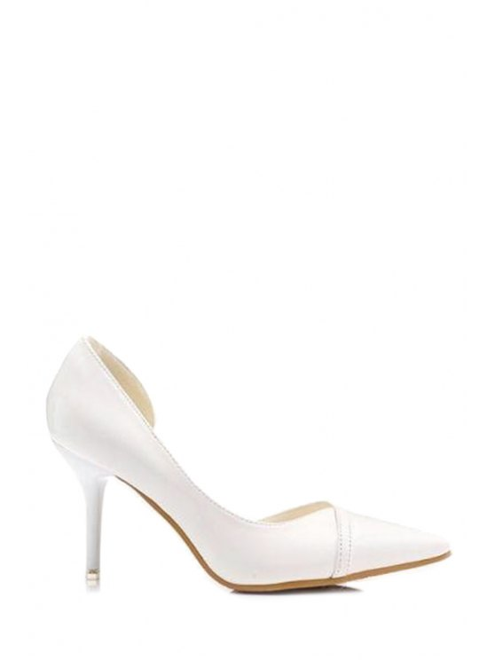 new Pointed Toe Patent Leather Solid Color Pumps - WHITE 34