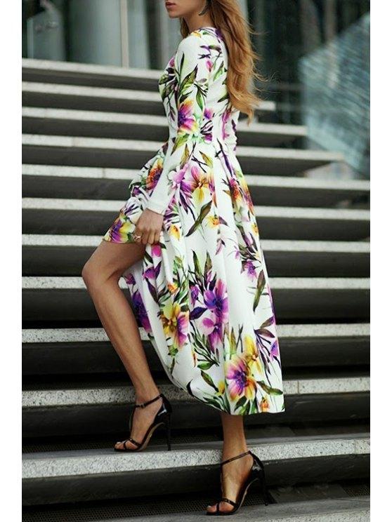 sale Puffball Floral Print Maxi Dress - WHITE S