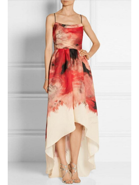 outfits Spaghetti Strap Colored High Low Maxi Dress - RED S
