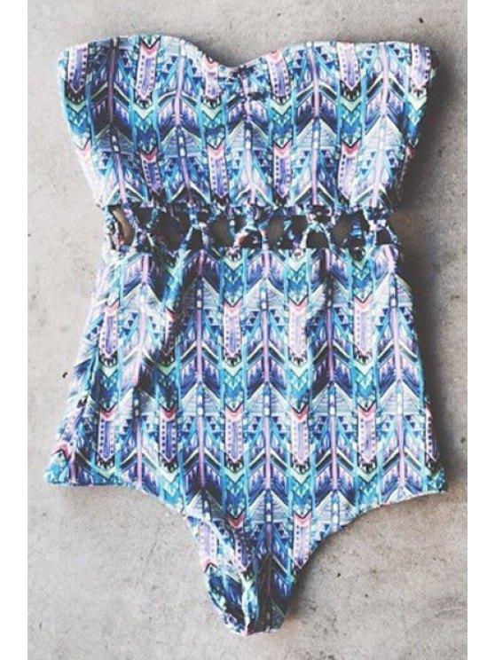 new Strapless Wavy Stripe One-Piece Swimwear - BLUE S