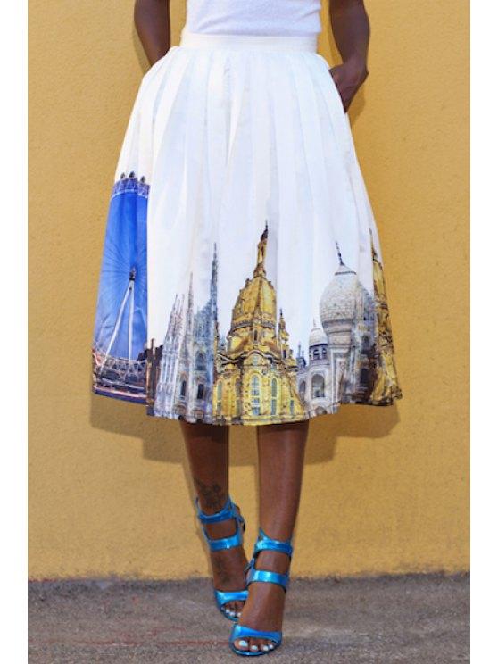 best Ruffled Building Print Ball Gown Skirt - WHITE S