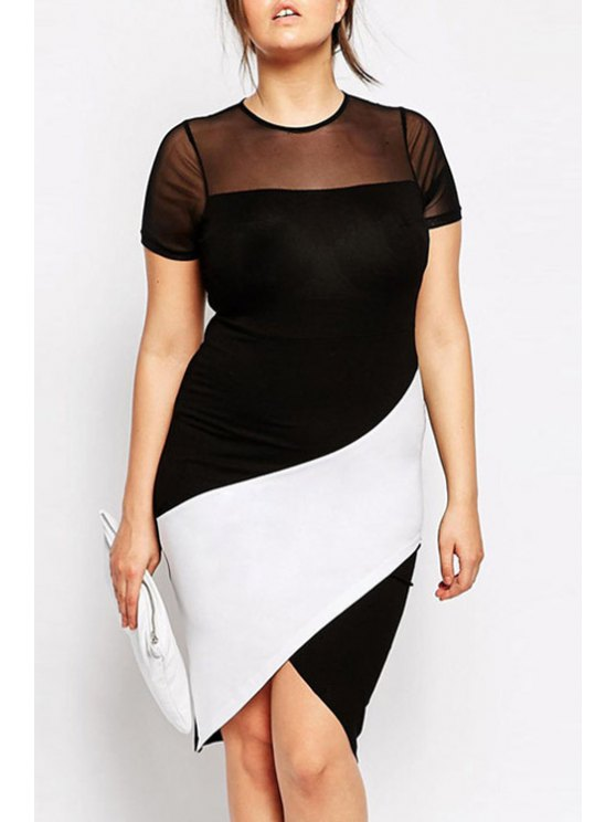 ladies See-Through Black White Splicing Short Sleeve Dress - BLACK ONE SIZE(FIT SIZE XS TO M)