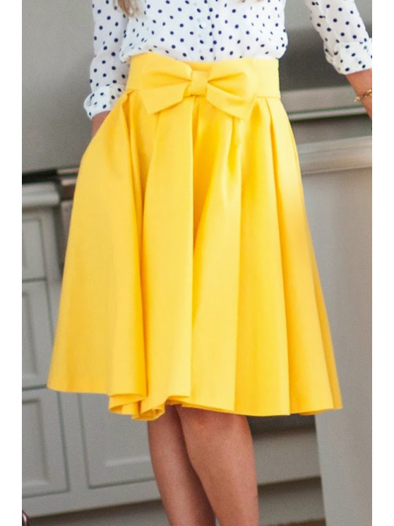outfits High-Waisted Bowknot Yellow Skirt - YELLOW S