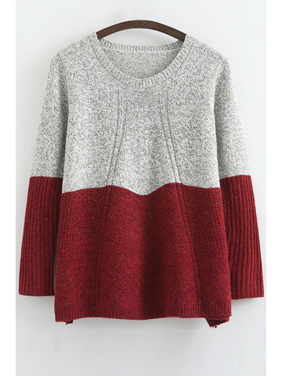 hot Scoop Neck Color Block Long Sleeve Sweater - RED ONE SIZE(FIT SIZE XS TO M)