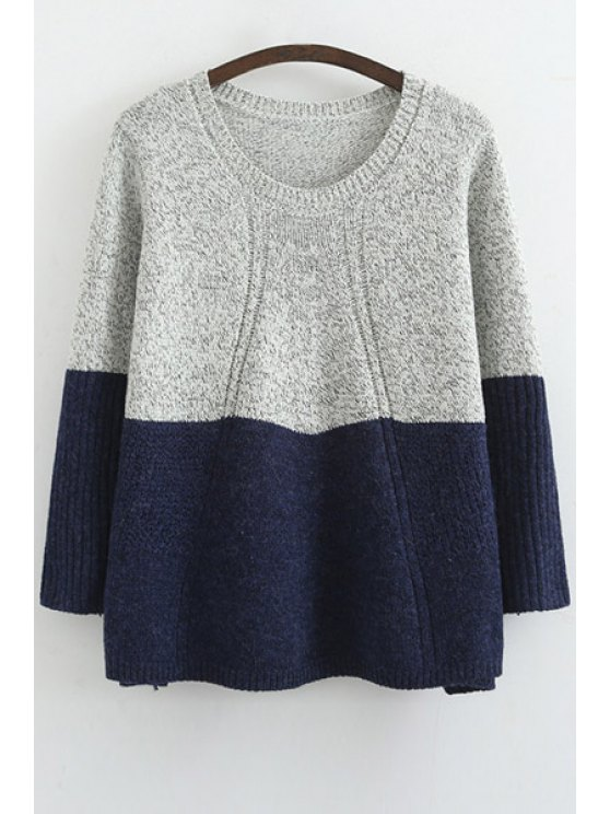 latest Scoop Neck Color Block Long Sleeve Sweater - BLUE ONE SIZE(FIT SIZE XS TO M)