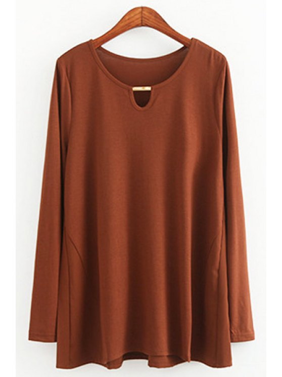 ladies Solid Color Sequined Long Sleeve T-Shirt - COFFEE ONE SIZE(FIT SIZE XS TO M)