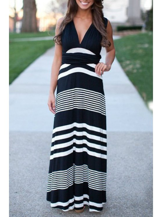 sale Striped Plunging Neck Sleeveless Maxi Dress - WHITE AND BLACK L