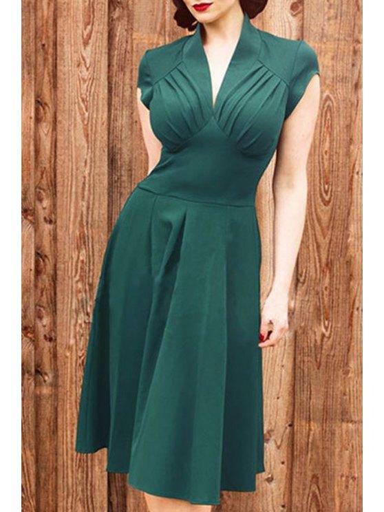 chic Solid Color V Neck Short Sleeve Midi Dress - GREEN S