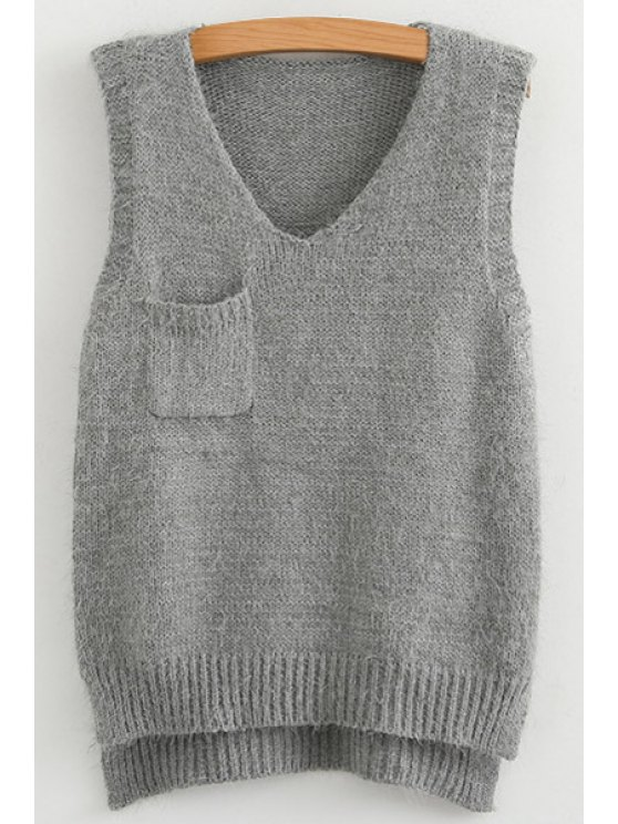 hot Pocket High Low Sleeveless Sweater - GRAY M