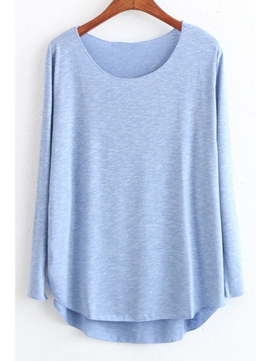 online Candy Color High Low Long Sleeve T-Shirt - DEEP BLUE ONE SIZE(FIT SIZE XS TO M)
