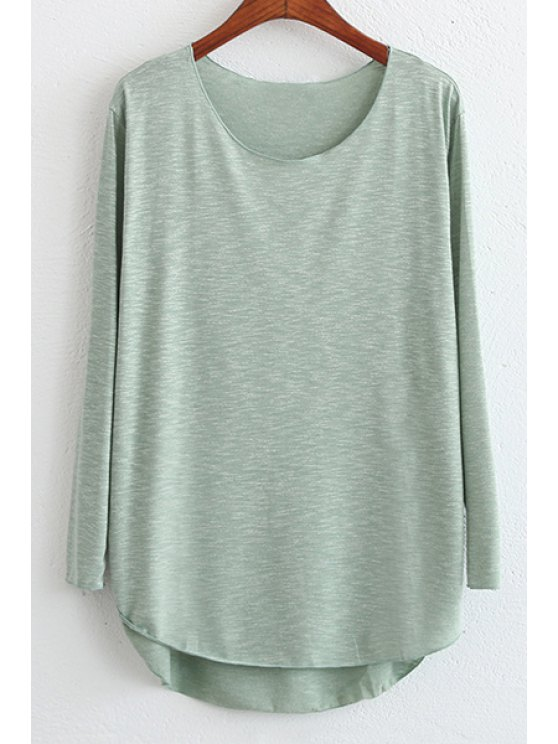chic Candy Color High Low Long Sleeve T-Shirt - GREEN ONE SIZE(FIT SIZE XS TO M)