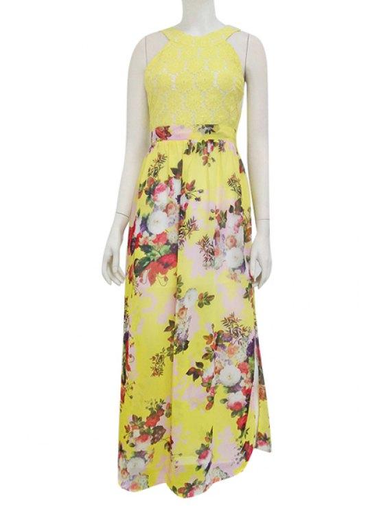 shops Floral Sleeveless Slit Maxi Dress - YELLOW M