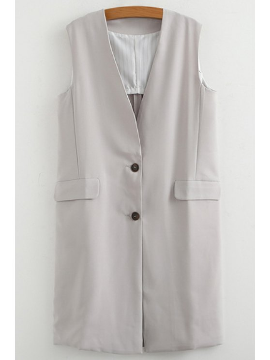 affordable V Neck Solid Color Sleeveless Waistcoat - GRAY ONE SIZE(FIT SIZE XS TO M)
