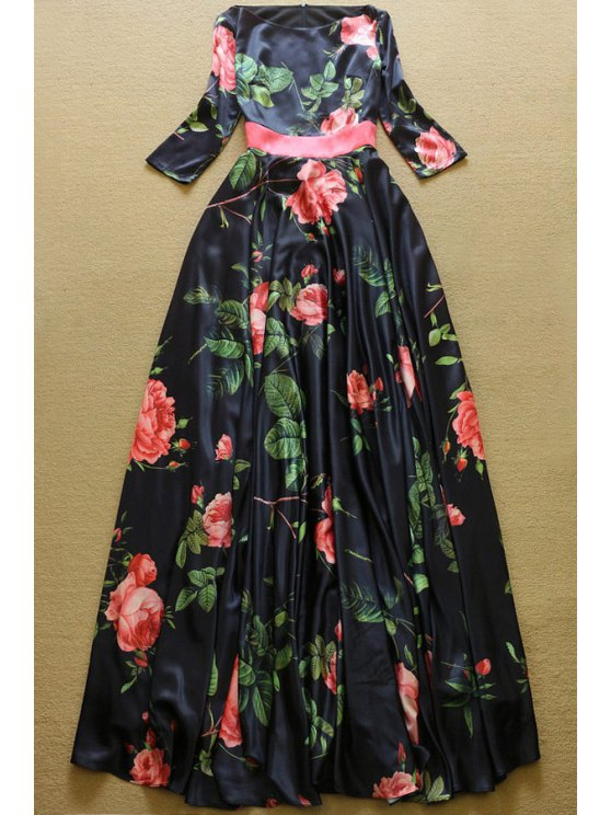 womens Slash Neck Floral Print Prom Dress - BLACK S