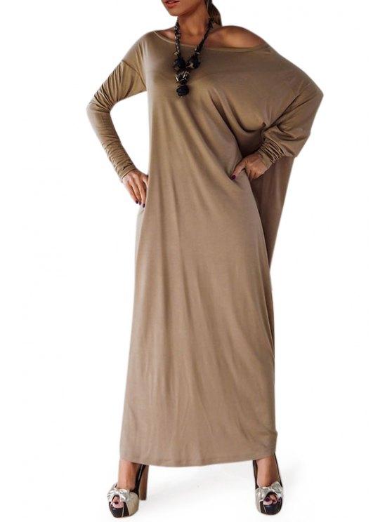 womens Slash Neck Long Batwing Sleeve Slit Maxi Dress - KHAKI S