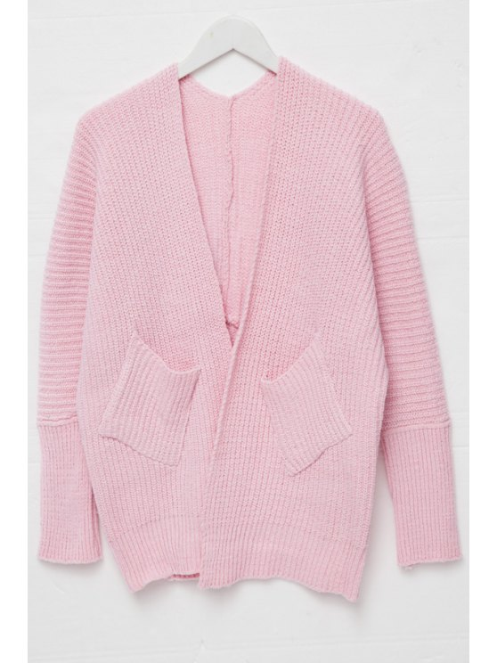 buy Open Front Pocket Design Cardigan - PINK ONE SIZE(FIT SIZE XS TO M)