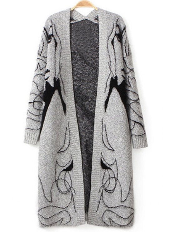 ladies Open Front Figure Pattern Long Cardigan - GRAY ONE SIZE(FIT SIZE XS TO M)