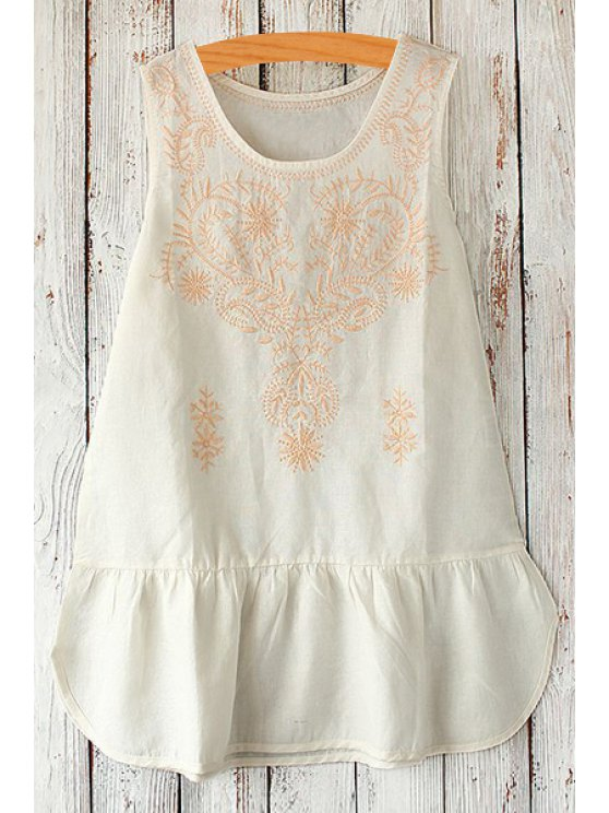 outfits Scoop Neck Floral Embroidery Sleeveless Dress - WHITE ONE SIZE(FIT SIZE XS TO M)