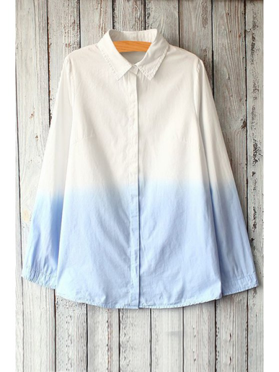 hot White Blue Print Long Sleeve Shirt - BLUE AND WHITE ONE SIZE(FIT SIZE XS TO M)