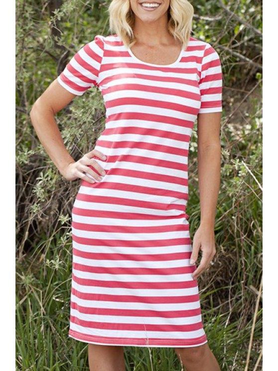 women Stripes Scoop Neck Short Sleeve Midi Dress - RED S