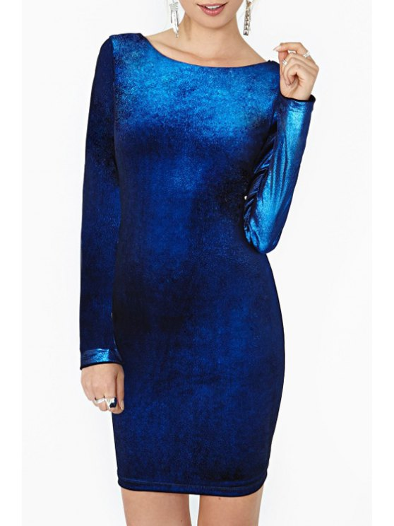 women Long Sleeve Backless Bodycon Dress - SAPPHIRE BLUE S