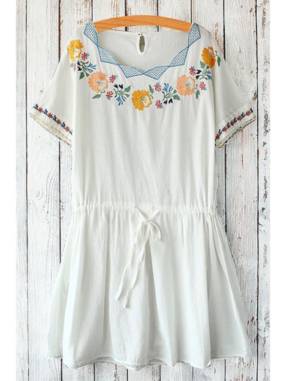 fashion Scoop Neck Floral Embroidery Tie-Up Dress - WHITE ONE SIZE(FIT SIZE XS TO M)
