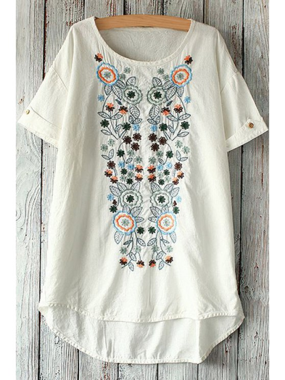 women Colorful Floral Embroidery Short Sleeve T-Shirt - WHITE ONE SIZE(FIT SIZE XS TO M)