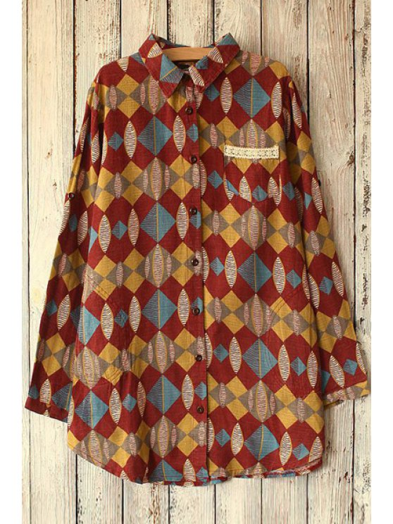 outfits Colorful Geometric Pattern Long Sleeve Shirt - RED ONE SIZE(FIT SIZE XS TO M)