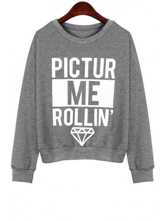 chic Letter Print Loose Fitting Sweatshirt - GRAY XL
