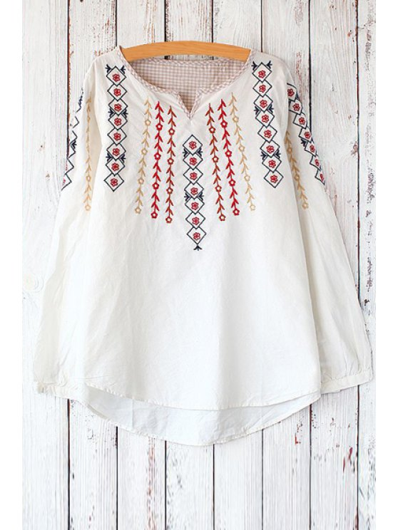 ladies Floral Leaves Embroidery Long Sleeve T-Shirt - WHITE ONE SIZE(FIT SIZE XS TO M)