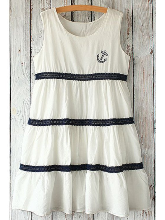 unique Anchor Embroidery Lace Splicing Dress - WHITE ONE SIZE(FIT SIZE XS TO M)