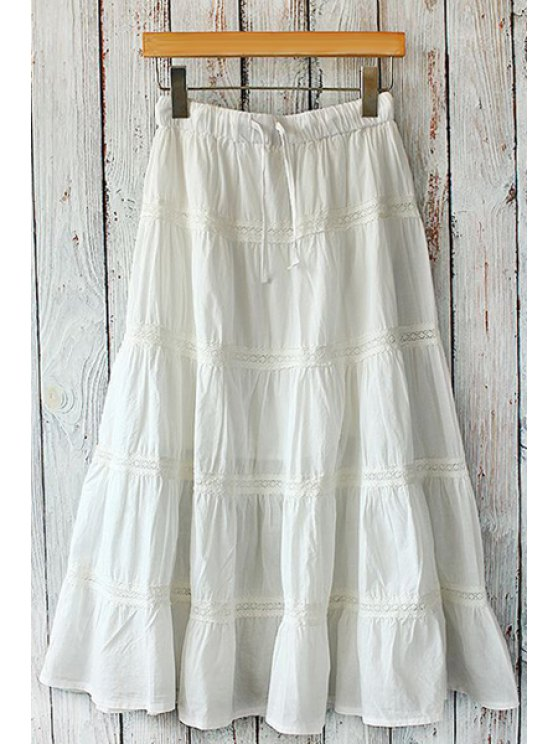 trendy Solid Color Lace Splicing Skirt - WHITE ONE SIZE(FIT SIZE XS TO M)