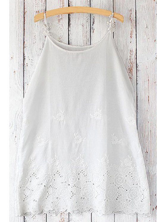 trendy Spaghetti Strap Floral Embroidery Tank Top - WHITE ONE SIZE(FIT SIZE XS TO M)