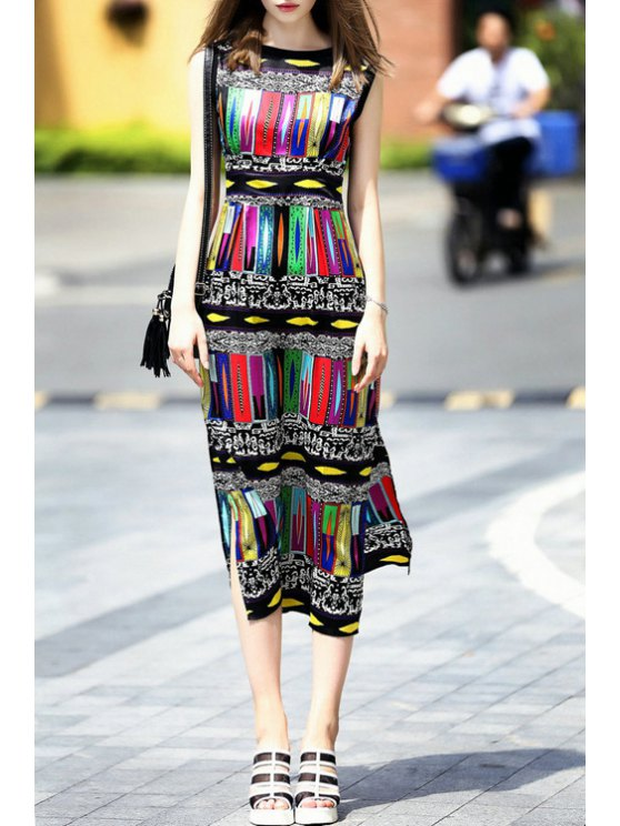 sale Colored Print Sleeveless Dress - RED S