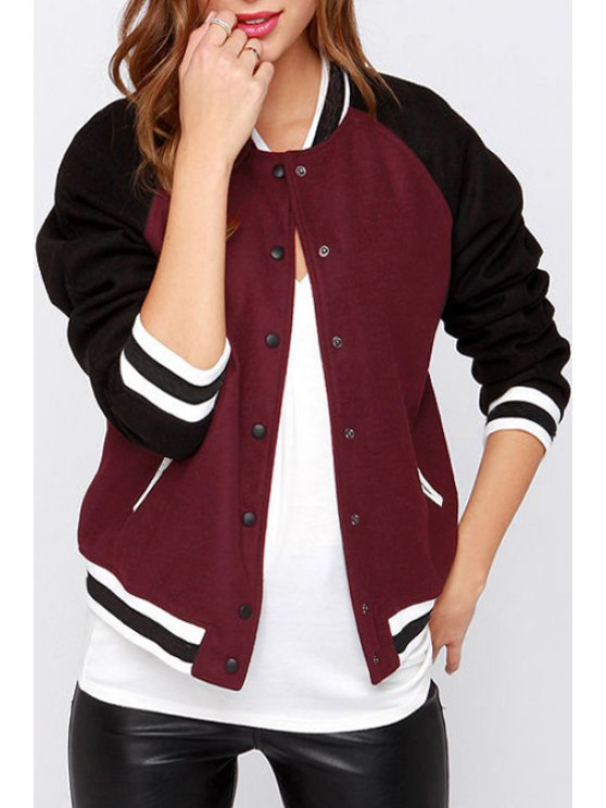 women's Jewel Neck Color Block Baseball Jacket - WINE RED S
