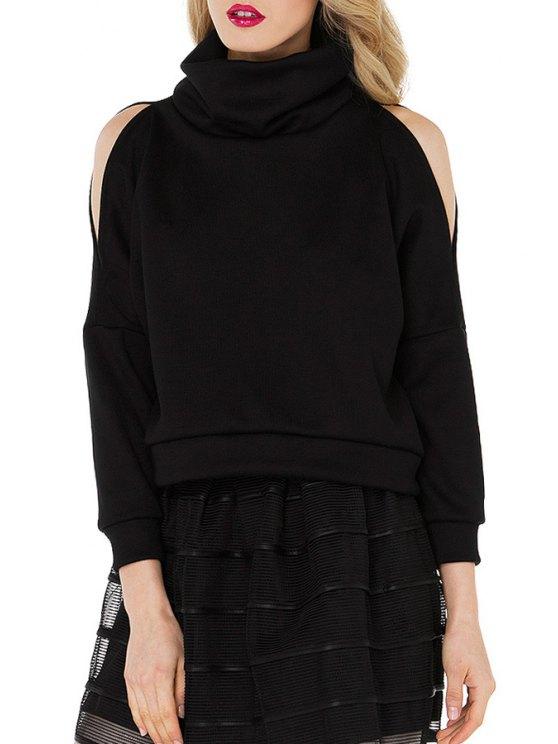 unique Heaps Collar Cut Out Loose Black Sweatshirt - BLACK S